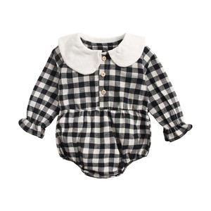 Korea Baby Gingham Check Rompers Girl Newborn S/S A/W