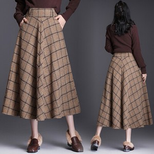 Checkered Flare Skirt Lining A/W Long Skirt