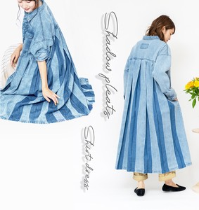 Denim Pleat Long Shirt One‐piece dress.
