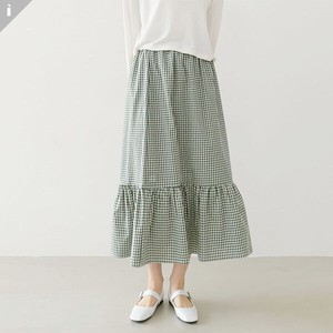 Checkered Line Fit Long Skirt