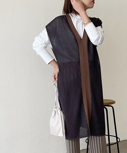 Belt Attached Mesh Long Vest