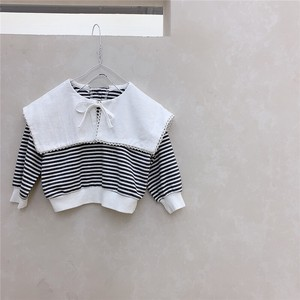 Korea Baby Attached Border Top Long Sleeve T-shirt