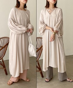 Double Face Volume Sleeve One-piece Dress