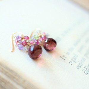 Natural stone Quartz Pink Tourmaline Pierced Earring
