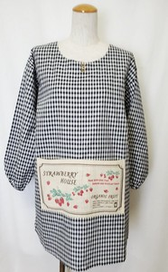 Gingham Japanesecook'S Apron Natural Country Print Pocket Natural Material Fabric
