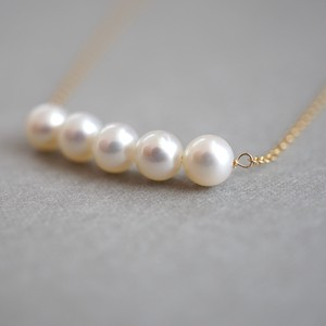 〔14kgf〕ラウンドパールラインネックレス (pearl necklace)