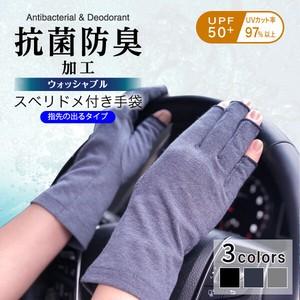 【抗菌防臭・UVカット】指先の出る手袋 すべり止め付き