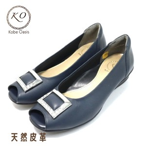 Natural Leather Genuine Leather Wide Open Toe Pumps