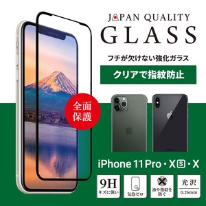 iPhone Whole Area Protection tempered glass Clear Black B5