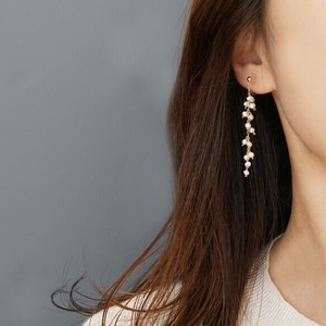 〔14kgf〕淡水パールランダムノンホールピアス (イヤリング) (pearl  earrings)