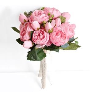 【芍薬と薔薇の可愛いブーケ ピンク】撮影 結婚式 ウエディング 花束 挙式 造花 インテリア