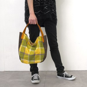 Big AL Fabric Combi Leather Handle Tote Bag A4