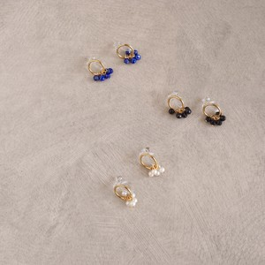 〔14kgf〕サークルノンホールピアス (イヤリング) (pearl natural stone earrings)
