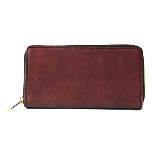 Tochigi Leather Round Fastener Long Wallet Cow Leather Men's Ladies Bordeaux