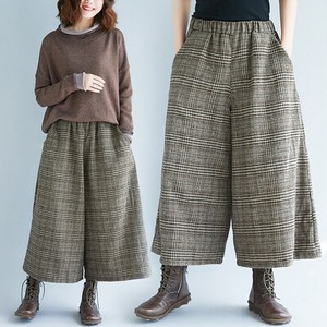 A/W Checkered wide pants Three-Quarter Length West Pants Leisurely Ladies Bottom