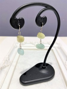 Aquamarine Natural Color Pierced Earring Natural stone