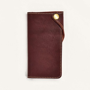 Tochigi Leather Flap Attached Smartphone Case Men's Ladies Bordeaux