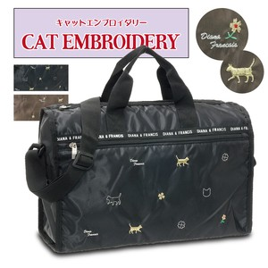 Gloss Fabric Cat Embroidery Overnight Bag Cat Embroidery [2021 New Product]