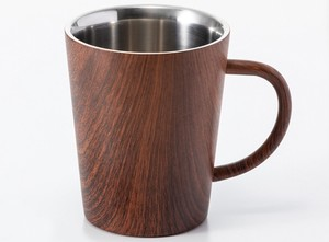 ウッドデザイン 二重構造マグ1P (ステンレス マグカップ 木目  父の日)
