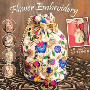 India Glitter Mini Bag Pouch Flower Embroidery