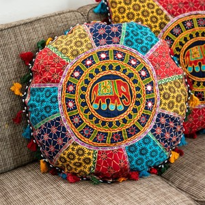 Attached Mirror Large Width Embroidery Cushion Cover