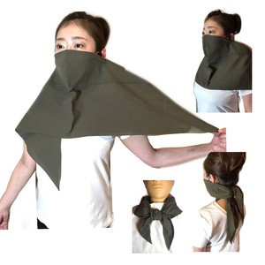 【日本製・綿100%】スカーフマスク 色:カーキ 33×100長さcmタイプ