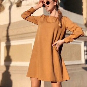 20 Neck Long Sleeve One-piece Dress Ladies