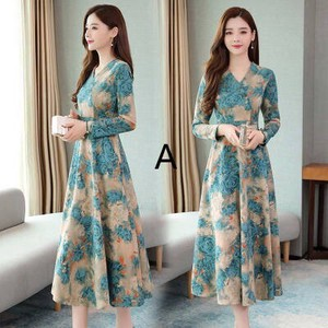 A/W Long Sleeve Middle V-neck Floral Pattern One-piece Dress
