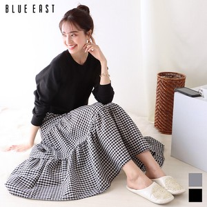 [2021 New Product] Gingham Check Skirt Switching Sweat One-piece Dress