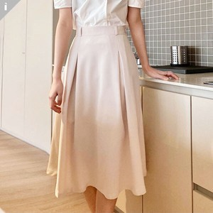 pin Tuck Flare Line Fit Long Skirt