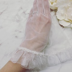 ウェディンググローブ 裾オーガンジーフリル刺繍手袋