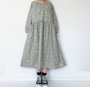Long Sleeve One-piece Dress Floral Pattern Light Grey
