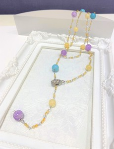 Color Natural stone Necklace 3WAY Natural stone