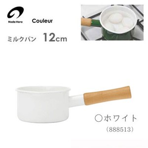 "Milk Pan 12cm White ""For gas fire only"" Noda Horo Rule"