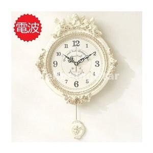 ゴールデンエンジェルラウンド電波振り子時計-ホワイト