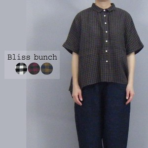 [2021 New Product] Linen Plain-woven Gingham Check Wide Shirt