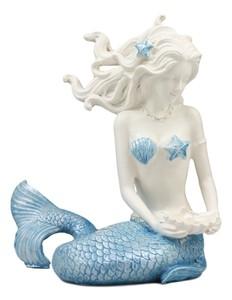 美しいオーシャンの女神マヤ 真珠の貝殻を持った青い尾びれのマーメイド(人魚像)彫像