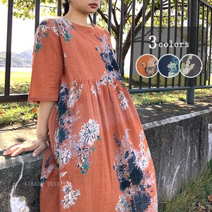 Flower Print Soccer Good Gather Dress 20