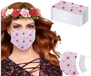 Floral Pattern For adults Non-woven Cloth Mask Blow Los disposable Mask