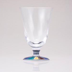 【日本製】九谷和グラス フリーグラス中(チューリップ)色絵十草文ブルー