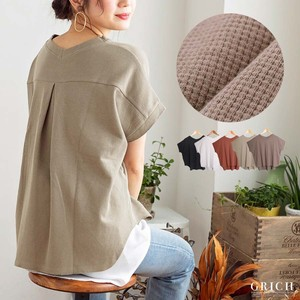 Top Bag Tuck Waffle Pullover T-shirt Short Sleeve Cotton S/S