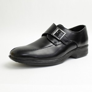 ★紳士軽量ビジネスシューズ 幅広 モンク 滑りにくい底 BLACK