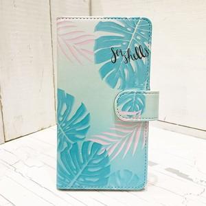 ハワイアンデザイン 手帳型iphoneケース ミラー付き モンステラのイラスト 南国植物モチーフ