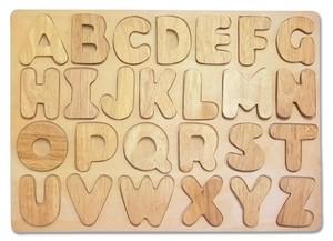 ABCパズル 木製 木のおもちゃ アルファベット 知育 積み木 英語 天然木