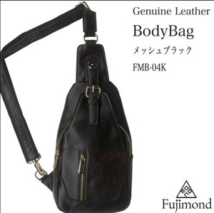Fuji Genuine Leather Body Bag Mesh Black