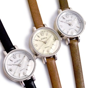 MAGGIO Smallish Narrow Cut Glass Slim Leather Watch Wrist Watch
