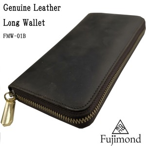 Fuji Genuine Leather Long Wallet Round Fastener