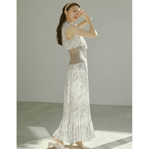 20 S/S Stand Color Pleats One-piece Dress