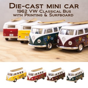 "ダイキャストミニカー(M)[5"" 1962 VW Classical Bus with Printing & Surfboard]【ロット12台】"