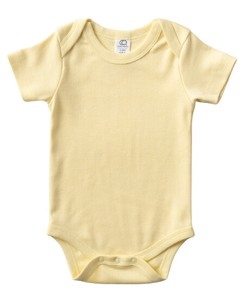 colored 100 Organic Cotton Short Sleeve Baby Suits Yellow